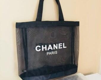a9be33e010dd71 CHANEL Large Black Fine Mesh Tote Gift Favor Bag White Chanel Paris Emblems  Black Straps -Great for Brides Graduates Beach