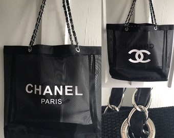 46fbab2d219b RESERVED for CLARA      Chanel Large Black Fine Mesh Tote Gift Favor Bag  White CC and Chanel Paris Emblems