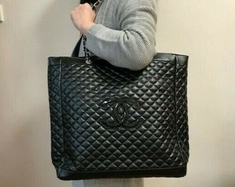 0cbfd8475423 CHANEL XL Black with Black CC Emblem Quilted Shoulder Bag Tote Bag Braided  Silver Straps and Grommets with Chanel Emblem- Great Favor Bag