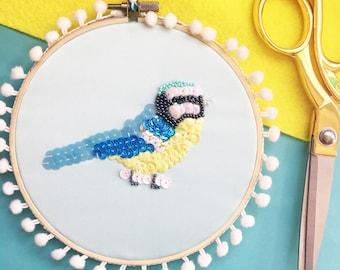 Blue Tit, Embroidery Hoop Wall Art, British Garden Bird, Embellished Sequin Art, Christmas Gift, Nature, Wall Hanging, Bird Lover Gift