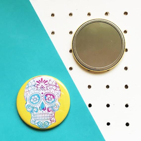 Sugar Skull Pocket Mirror Compact, Sugar Skull Compact Mirror