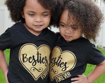 Best Friends Shirt, Besties Tshirt, Friends Tshirt, Girls Shirt, Twin Shirts, Besties Forever, Best Friends, Glitter Shirt, Graphic Tee