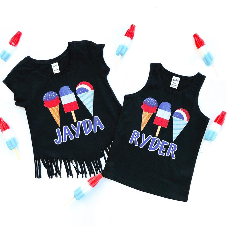 red white and blue patrotic popsicles independence day 4th of july popsicles Popsicle Shirt personalized popsicle shirt