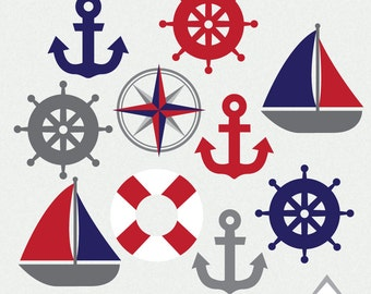Nautical PNG Clipart Navy And Red Sailboat Anchor Beach Boat Wedding Clip Art Party Baby Shower Element Small Commercial Use OK