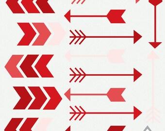 Red Arrow Clipart Clipart Arrows Valentine Arrows Digital Etsy