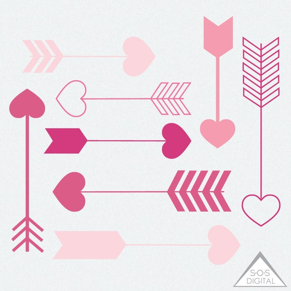 Pink Heart Arrow Clipart, Clipart Heart Arrows, Valentine Arrows, Digital  Arrows, Valentine Clipart, PNG Arrow, PNG Files, Small Commercial