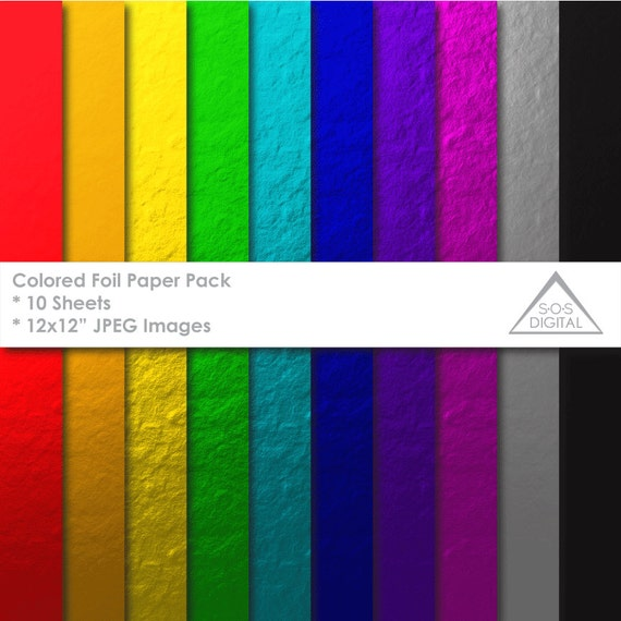 Colored Foil Paper Pack, Foil Texture, Multicolored Foils, Digital ...