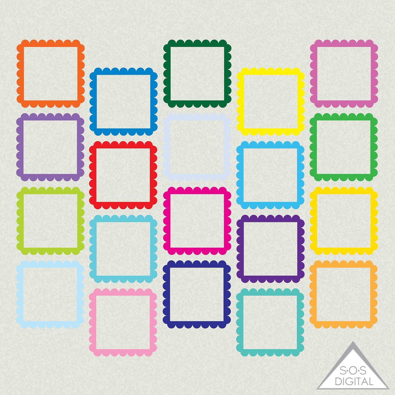 Bright Digital Frames, Square Frame, Clipart Frames, Primary Color ...