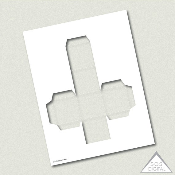 2 inch square box template, party printable template, PNG template ...
