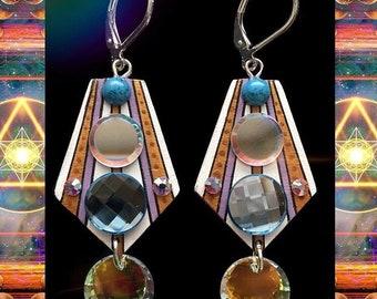 Swarovski Crystal and Mirror Earrings