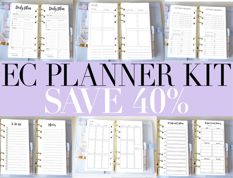 1fffc66b5f4bf Planner Bundle - Printable Inserts Kit - EC Style Vertical Weekly Inserts -  Filofax Personal or Kikki K Medium - Cleaning Daily