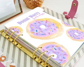A5 Dashboard - Planner Printable Inserts - Planner Dashboard - Watercolour Donut - Filofax A5 or  Kikki K Large Size