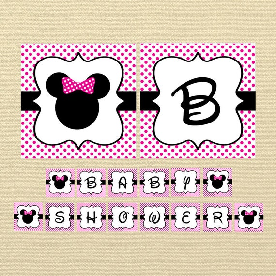 Minnie Mouse Banner Pink Minnie Mouse Baby Shower Banner Etsy