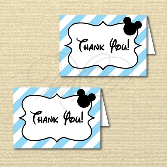 Printable Baby Mickey Mouse Thank You Card Blue Mickey Party Etsy