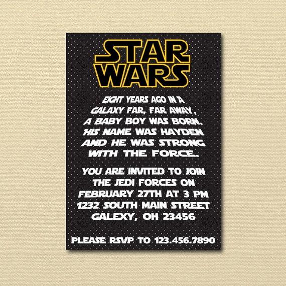 Starwars Birthday Party Invitation Star Wars Starwars