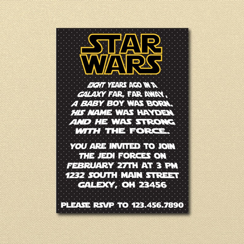 Starwars Birthday Party Invitation Star Wars
