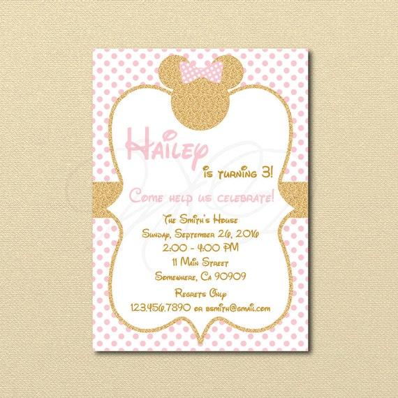 Invitación de Minnie Mouse oro Glitter Minnie invitar fiesta | Etsy