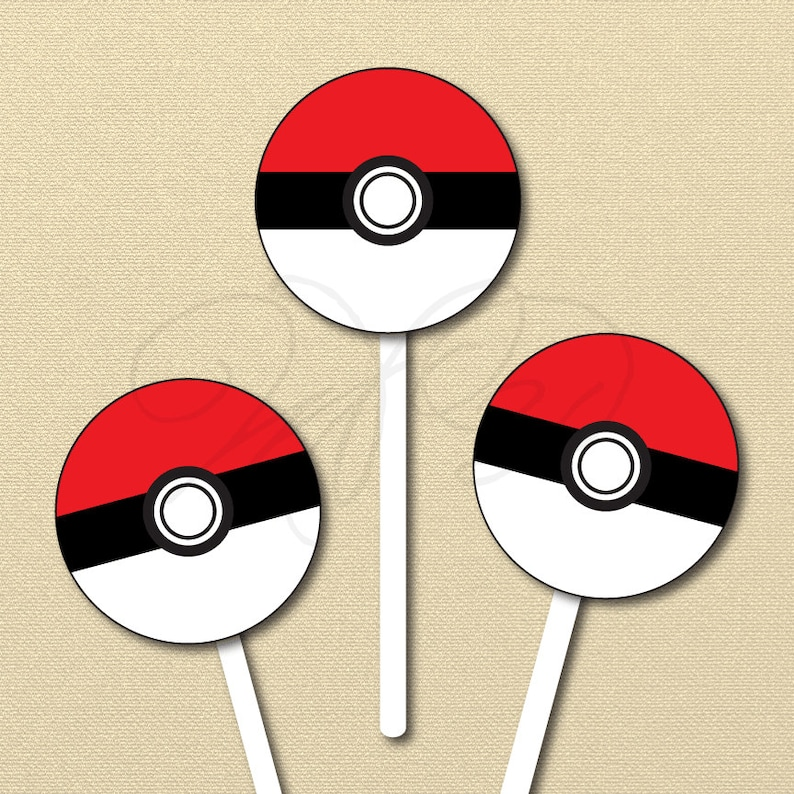 picture regarding Pokeball Printable referred to as Pokemon Get together Printables, Pokeball Cupcake Toppers, Stickers, Pokémon labels, printable record, fast down load, boy birthday, Pokémon transfer