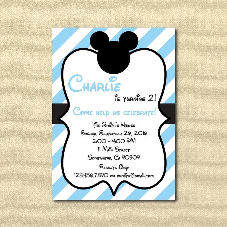Baby Blue Mickey Mouse Invitation Light Blue Mickey Invite Etsy
