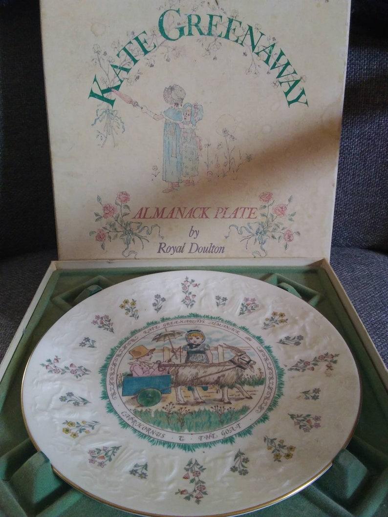 Vintage Kate Greenaway Almanack Plate by Royal Doulton 1884 Royal Doulton Tableware LTD Decorative Plate with Original Gift Box