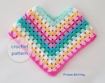 Crochet Kids Poncho Etsy
