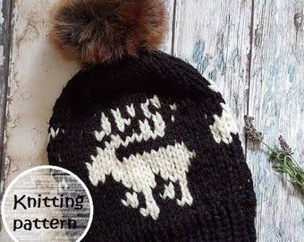 e0a08b4b026 Knitting pattern fair isle reindeer hat    slouchy hat   PDF pattern     winter    ladies    handmade    fair isle    moose hat    knit hat
