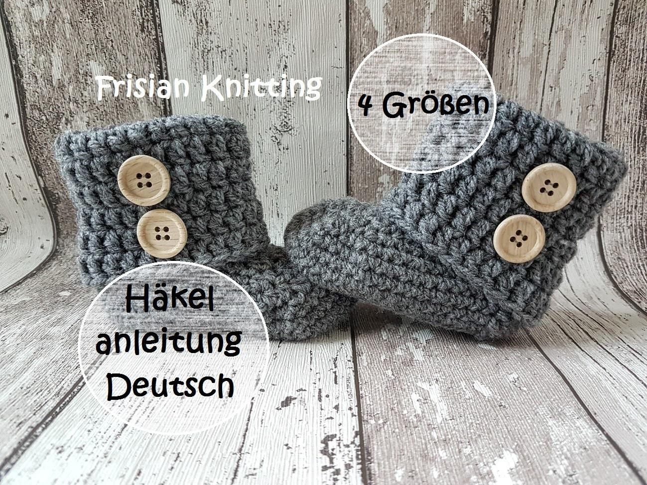 Deutsch pattern baby booties, baby uggs, crochet pattern, crochet ...