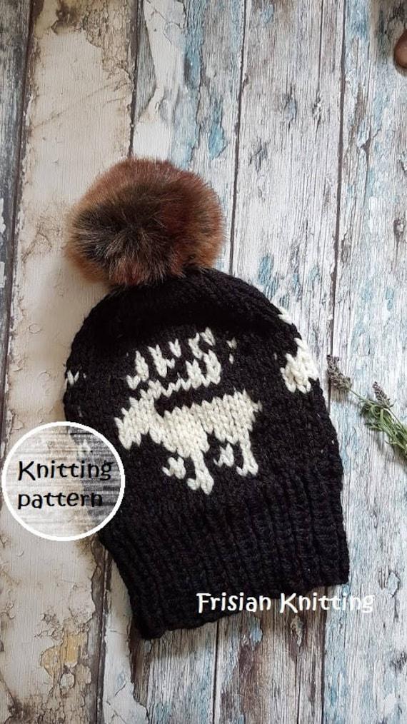 Knitting Pattern Fair Isle Reindeer Hat Slouchy Hat Pdf Etsy