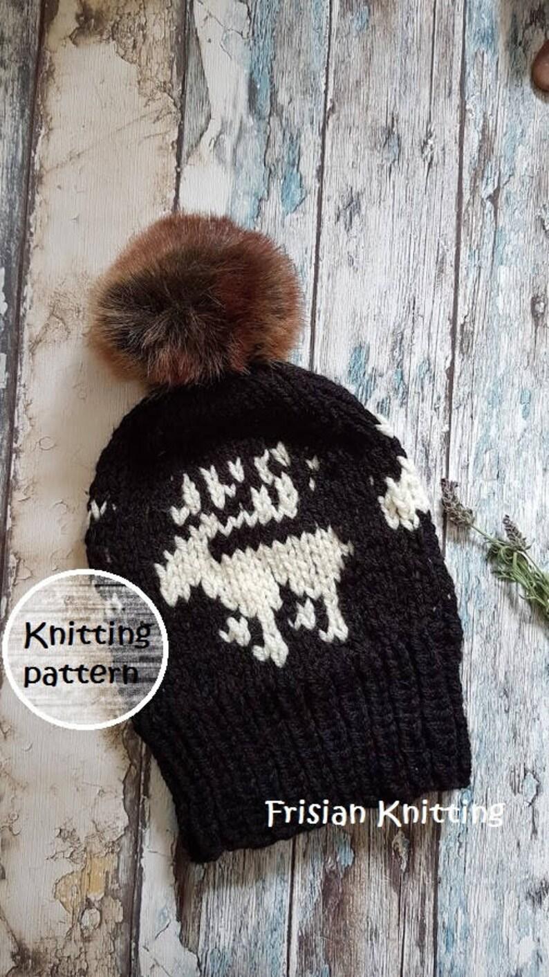 Knitting pattern fair isle reindeer hat    slouchy hat  8d0b52c9e89