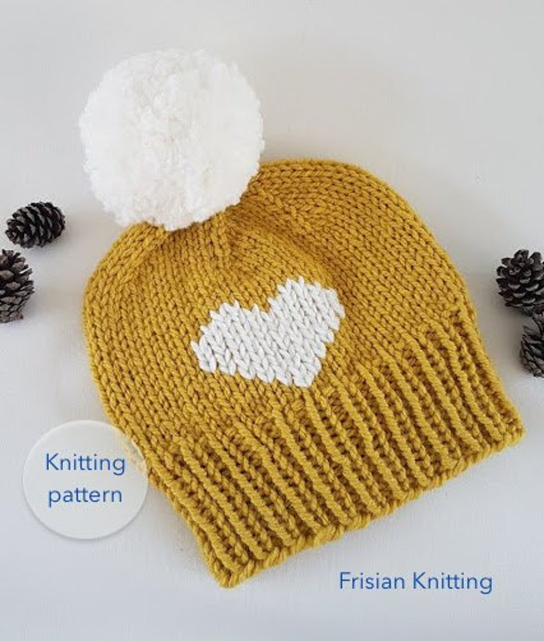 6beb1e46c19 Knit pattern hat heart    Big heart beanie    Love hat