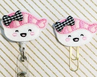 Sushi Felt Paperclip l Badge Reel ID Holder l Magnet l Brooch Pin l Planner Clip ID Lanyard Planner Accessories (568)