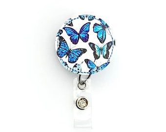 GoldRedBlue Rhinestones  Butterfly Alloy Retractable ID Badge Reel Gifts Badge Clips Alligator Swivel Clip ID Badge Holder