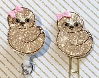 Sloth Glitter Felt Paper clip l Badge Reel ID Holder l Magnet l Brooch Pin l Planner Clip ID Lanyard Planner Accessories (375)