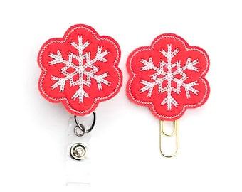 Winter Snowflake Badge Reel, Planner Clip, ID Holder, Magnet, Brooch , Badge Reel Topper, Badge Pull, Name Badge Holder (185)