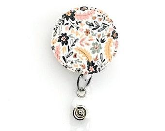 Genuine Leather Flower Badge Reel, Floral Badge Reel, ID Holder, Badge Pull, Name Badge Holder, Leather Badge Reel, Flower Badge Reel