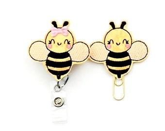 Bee Bumble Bee Badge Reel, Planner Clip, ID Holder, Magnet, Brooch , Badge Reel Topper, Badge Pull, Name Badge Holder (1529)