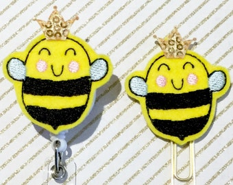 QUEEN HONEY BEE LANYARD NECKLACE ID Badge Holder Clip Key Ring Bumble Gold Beads