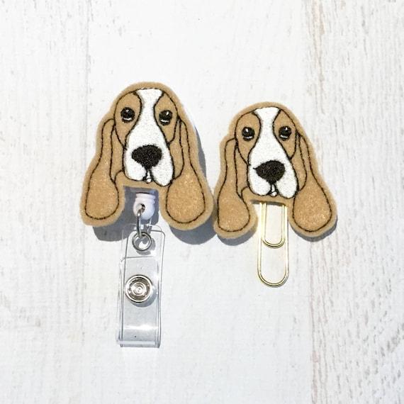 Basset Hound Dog Breed Heart Lanyard Retractable Reel Badge ID Card Holder
