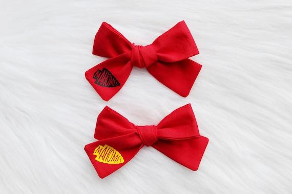 Mahomes Bows Red /& Yellow Chiefs Hair Bows