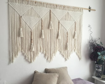 Macrame Wall Hanging Tapestry Bohemian Handmade Backdrop Art Home Decoration UK