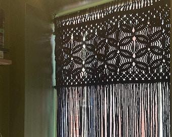 bead curtain doorway, beaded black macrame door curtain