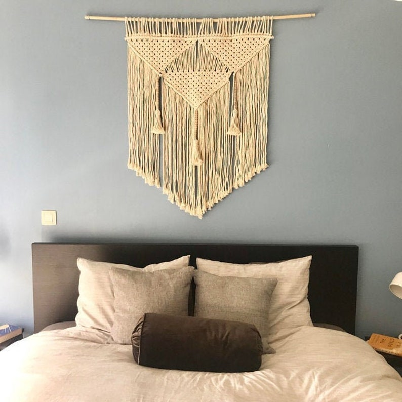 . Living room wall decor  Macrame hanging with tassels and natural wooden  beads
