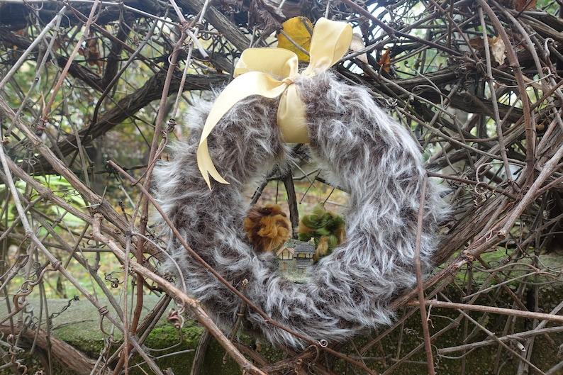 Front door wreath faux fur wreath door decor Fluffy Wreath gray door decor Door Wreath Everyday Wreath Outdoor Wreath Winter wreath
