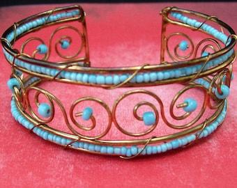 Handmade Wire Wrap Glass Bead Cuff Bracelet Boho Bohemian