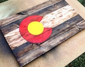 Colorado Wood Flag, painted red and yellow- Colorado art, wood wall art, housewarming, birthday gifts, state flags, Clam Hammer Designs