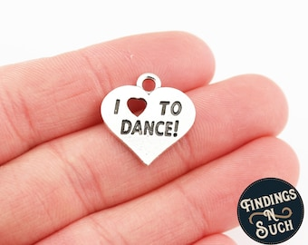 24f226668a5 8 I Love To Dance Charms Antique Silver Tone