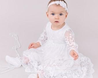 Baby Girls Winter Long Sleeve Floral Lace Pom Pom Bib Christening Baptism Tulle Dress