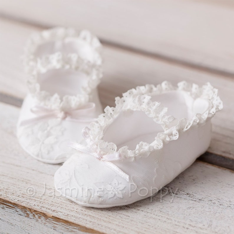 8eb2bf852d3c8 Baby girl christening shoes, crib shoes , baptism shoes for baby girls,  lace and ruffled baby shoes, white mary janes for baby girl
