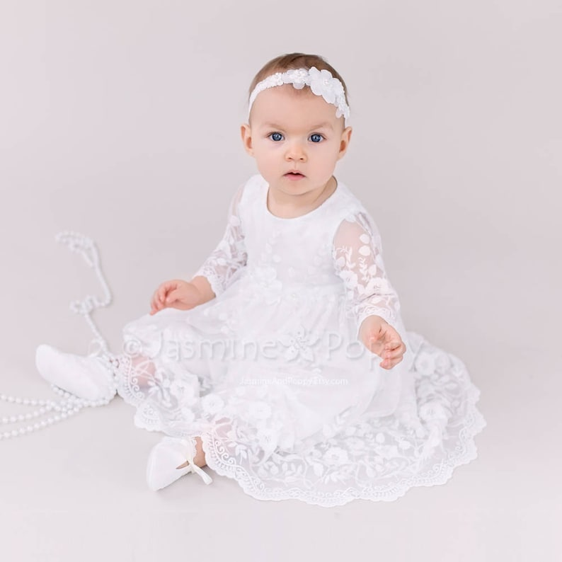 1f1a4e43c39bb Baptism dress for baby girl, long sleeve baptism dress, christening dress,  lace christening gown