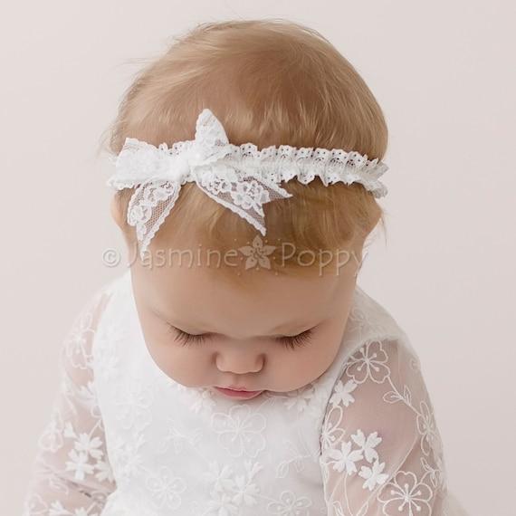 UK Baby Girl Off White Vintage Lace Bow Headband Baptism Christening Wedding